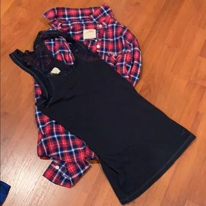 Hollister xs button down and Razorback s tank